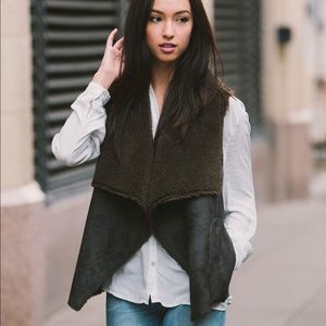 Velvet x Graham & Spencer Black Shearling Vest M